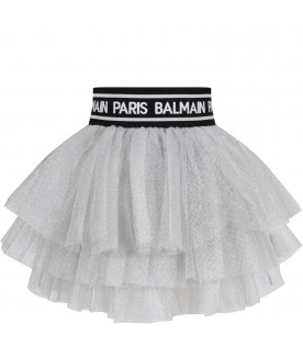 BALMAIN KIDS Grey girl skirt with white logo