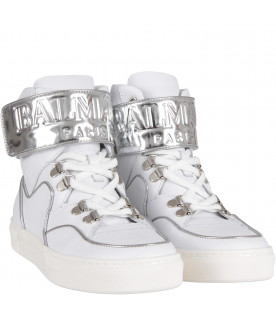 BALMAIN KIDS White girl sneaker with logo