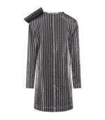 Balmain Kids Black and silver girl dress with big bow