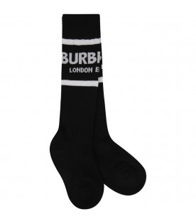 BURBERRY KIDS Black kids socks with logo