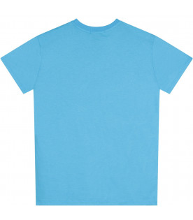 MSGM KIDS Light blue T-shirt with white logo