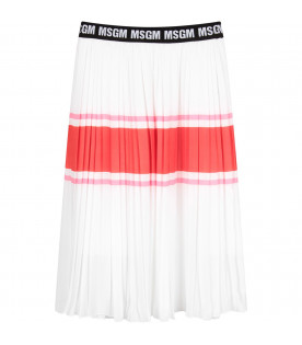 MSGM KIDS White girl skirt with logo