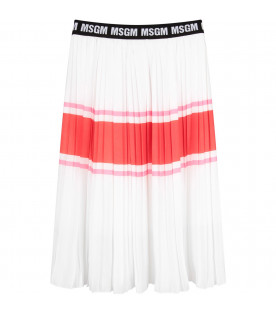 MSGM KIDS Gonna bianca per bambina con logo