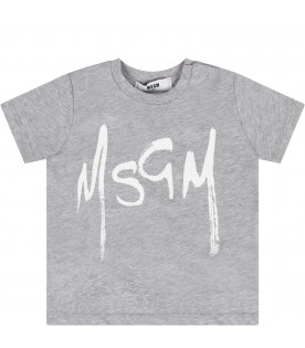 MSGM KIDS Grey babykids T-shirt with white logo