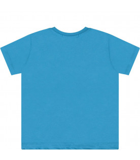 MSGM KIDS Light blue babykids T-shirt with white logo