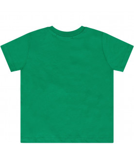 MSGM KIDS Green babykids T-shirt with white logo