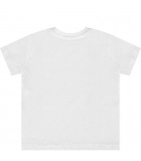 MSGM KIDS White babykids T-shirt with black logo