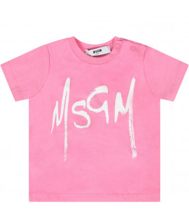 MSGM KIDS Pink babygirl T-shirt with white logo