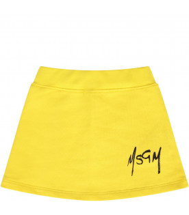 MSGM KIDS Yellow babygirl skirt with black logo