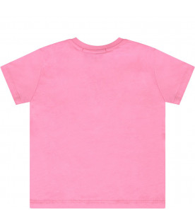 MSGM KIDS Pink babygirl T-shirt with colorful logos