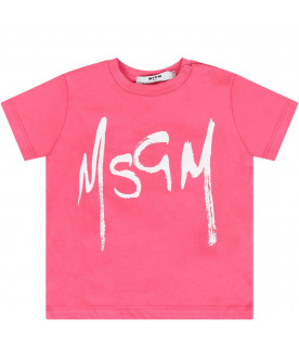 MSGM KIDS Fuchsia babygirl T-shirt with white logo