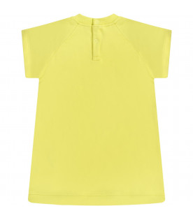 MSGM KIDS Neon yellow babygirl dress with white logo