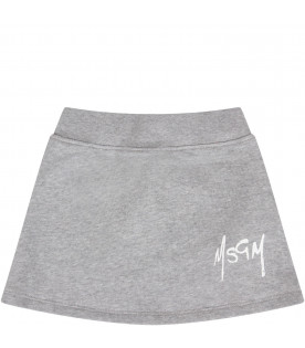 MSGM KIDS Grey babygirl skirt with white logo
