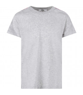 MSGM KIDS T-shirt grigia per bambino con bande colorate