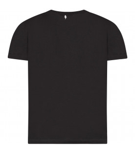 NEIL BARRETT KIDS Black boy T-shirt with white logo
