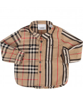 BURBERRY KIDS Camicia beige per neonato con iconico check e righe