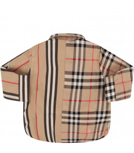 BURBERRY KIDS Biege babyboy shirt with iconic check and stripe