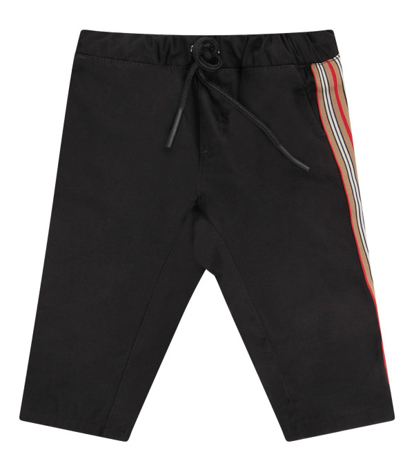 BURBERRY KIDS Black babyboy pants with colorful stripes