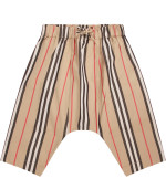 Burberry Kids Beige babyboy pants with icon stripe
