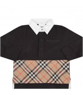BURBERRY KIDS Black babyboy polo shirt with black logo