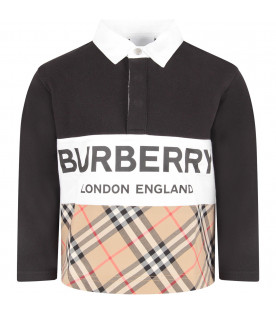 BURBERRY KIDS Black boy polo shirt with black logo
