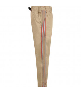 Biege boy pants with colorful stripes
