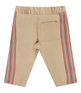 BURBERRY KIDS Biege babyboy pants with colorful stripes
