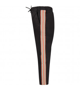 BURBERRY KIDS Black boy pants with colorful stripes