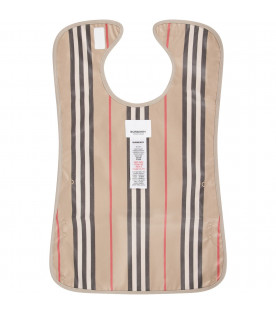 Beige babykids bib with icon stripes