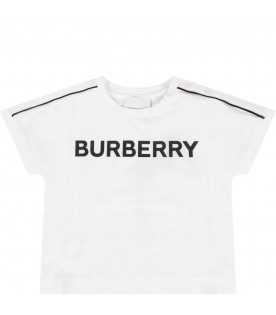 BURBERRY KIDS White babykids T-shirt with black logo