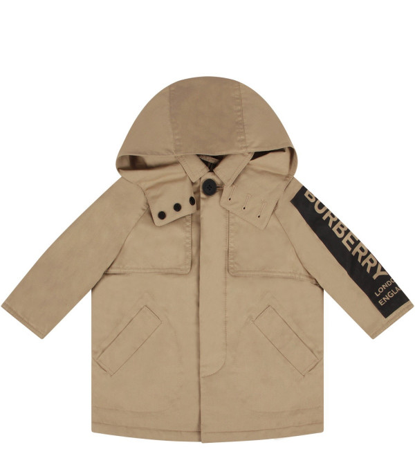 BURBERRY KIDS Biege babyboy trench coat with logo