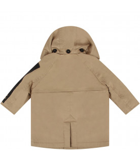 Biege babyboy trench coat with logo