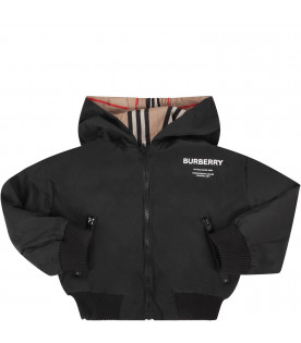 BURBERRY KIDS Black babykids reversible jacket with white logo