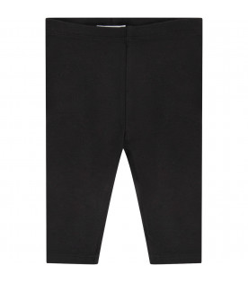 BURBERRY KIDS Black babygirl leggings with white logo