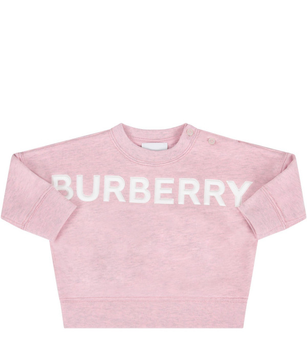 BURBERRY KIDS Pink babygirl sweatshirt with white logo