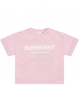 BURBERRY KIDS Pink babygirl T-shirt with white logo