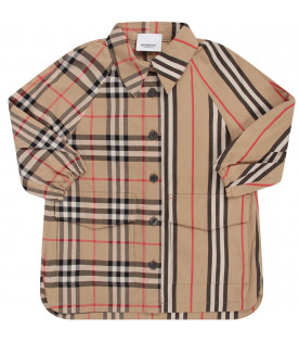 BURBERRY KIDS Abito beige per neonata con check e righe iconiche