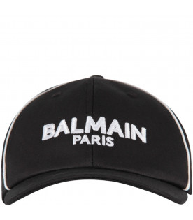 BALMAIN KIDS Black kids hat with white logo