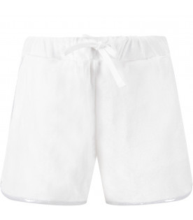 BALMAIN KIDS Short bianco per bambina con patch