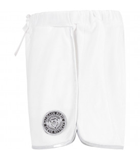 BALMAIN KIDS White girrl short with patch