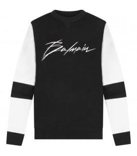 BALMAIN KIDS Black kids sweatshirt with white logo