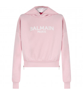 BALMAIN KIDS Pink girl cropped sweathsirt with logo