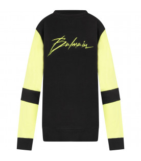BALMAIN KIDS Black kids sweatshirt with neon yellow logo