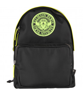 BALMAIN KIDS Black kids backpack with neon yellow logo