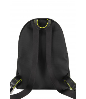 Black kids backpack with neon yellow logo