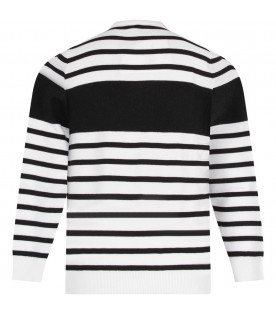 BALMAIN KIDS White and black striped kids sweater with logo
