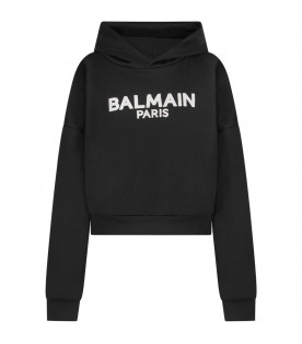 BALMAIN KIDS Black girl cropped sweathsirt with logo