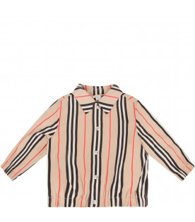 BURBERRY KIDS Beige babyboy bomber with icon stripes