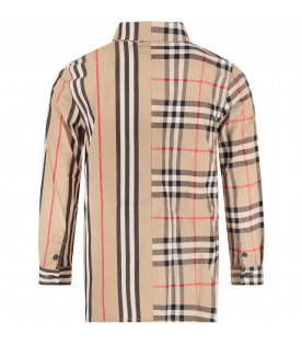 BURBERRY KIDS Biege boy shirt with iconic check and stripe