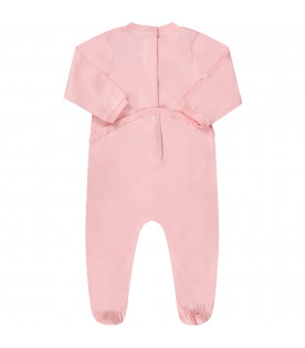 MOSCHINO KIDS Pink baby girl babygrow with logo and Teddy Bear